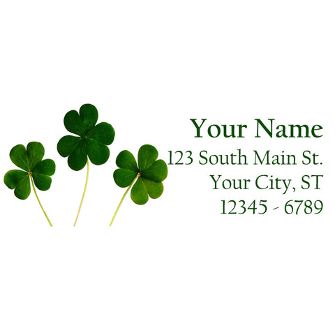 Three Shamrock Clovers Personalized Return Address Labels St. Patrick's Day
