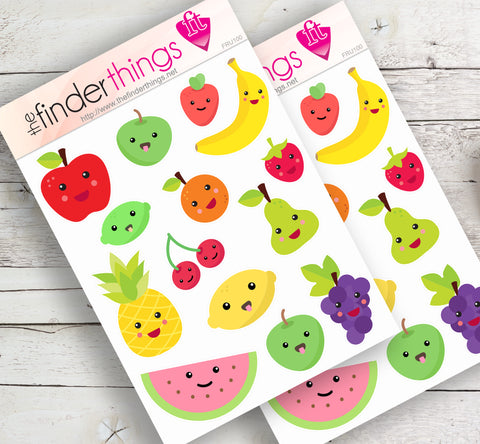 Cartoon Fruit Stickers for Scrapbook, Planners, Diary, Crafts and Fun Fruit Emoji