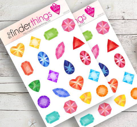 Gems Diamonds Rubys Stickers for Scrapbook, Planners, Diary, Crafts and Fun - The FinderThings