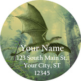 Green Dragon Personalized Return Address Labels Flying Emerald Dragon - The FinderThings