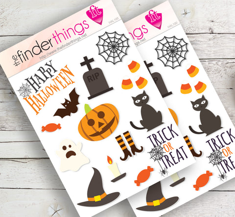 Halloween Pumpkin and Cat Stickers for Scrapbook, Planners, and Fun - The FinderThings
