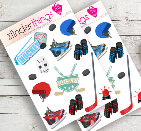 Hockey Player Equipment Stickers for Scrapbook, Planners, and Fun - The FinderThings