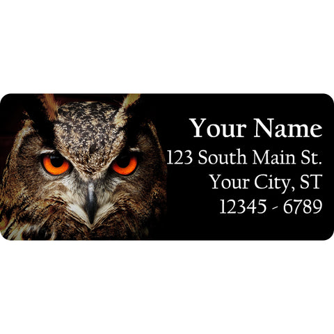 Horned Owl Personalized Return Address Labels Horned Owl Eyes - The FinderThings