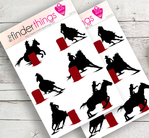 Horse Barrel Riding Rodeo Stickers for Scrapbook, Planners, and Fun - The FinderThings