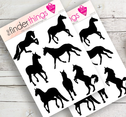 Horse Silhouette Stickers for Scrapbook, Planners, and Fun - The FinderThings