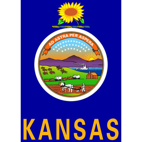 Kansas State Flag Sticker Decal - The Sunflower State Bumper Sticker - The FinderThings