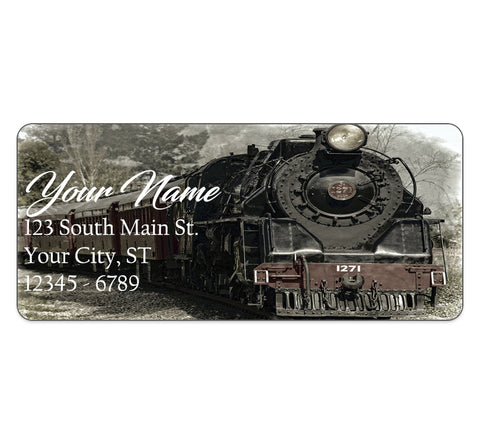 Train Locomotive Personalized Return Address Labels Black Loco Motive Train - The FinderThings