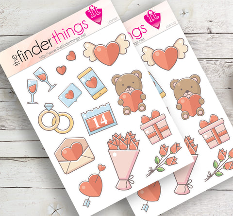 Love Hearts Valentine's Day Rodeo Stickers for Scrapbook, Planners, and Fun - The FinderThings