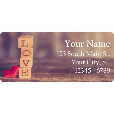 Love Block Letters Personalized Return Address Labels Love Valentine's Day - The FinderThings