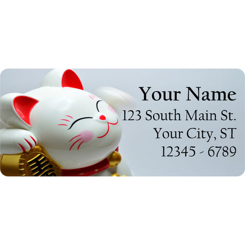 Lucky Cat Return Address Labels Maneki-neko Good Luck Cat - The FinderThings