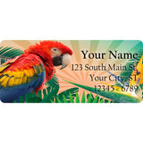 Red Macaw Personalized Return Address Labels Red Colorful Bird Parrot - The FinderThings