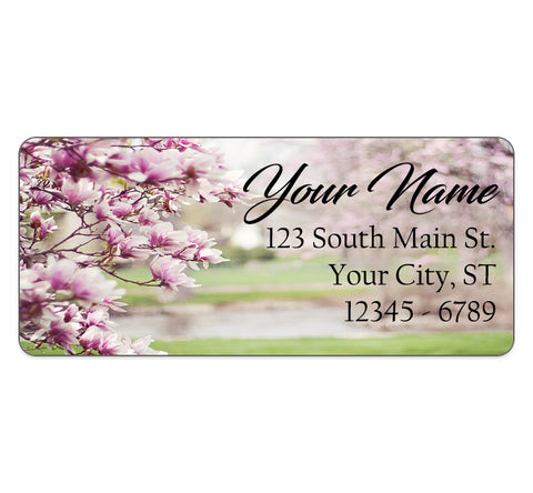 Magnolia Flowers Personalized Return Address Labels Pink Flowers - The FinderThings