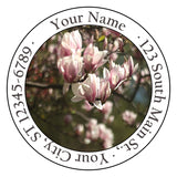 Magnolia Flower Collection Personalized Return Address Labels Pink Flowers - The FinderThings