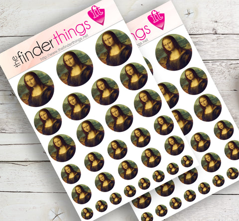 Mona Lisa by Leonardo DaVinci Stickers for Scrapbook, Planners, Diary, Crafts and Fun