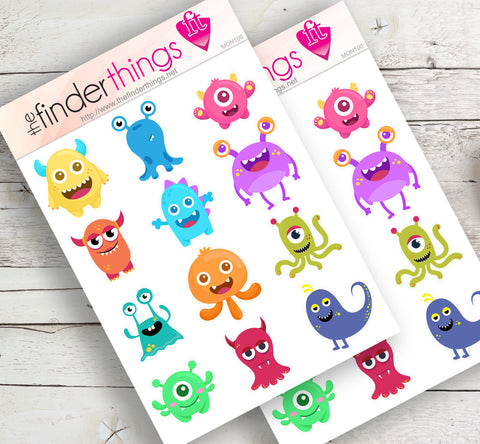 Funny Monsters Stickers for Scrapbook, Planners, Diary, Crafts and Fun - The FinderThings