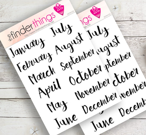 Month of the Year Scrapbook, Planners, and Fun Months in Black - The FinderThings