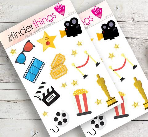 Movie Night Stickers for Scrapbook, Planners, and Fun