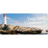 Lighthouse Personalized Return Address Labels on the Shore of the Ocean - The FinderThings