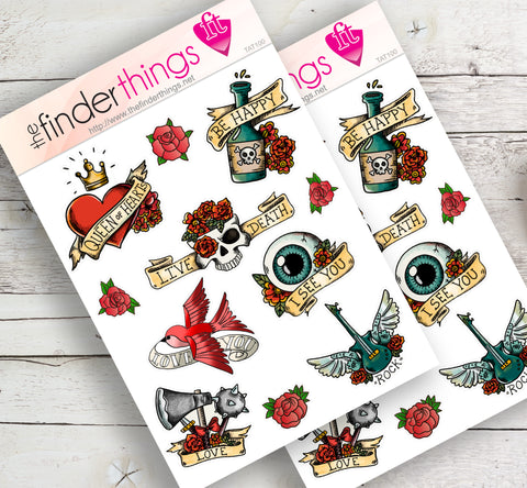 Old School Tattoo Stickers for Scrapbook, Planners, Diary, Crafts and Fun Americana