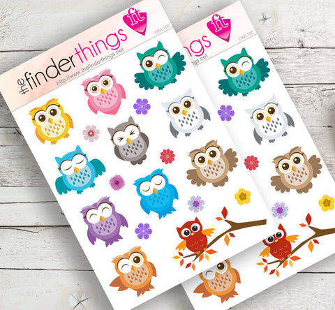 Happy and Cute Owls Stickers for Scrapbook, Planners, and Fun - The FinderThings