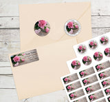 Pink Rose Valentine's Day Personalized Return Address Labels I Love You Heart - The FinderThings