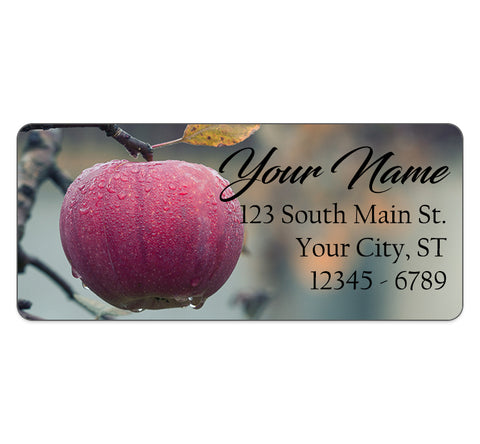 Red Apple Personalized Return Address Labels Fruit Morning Dew Apples - The FinderThings