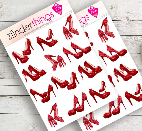 Red High Heels Stickers for Scrapbook, Planners, Diary, Crafts and Fun Ruby Slippers