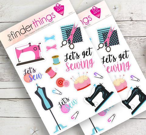 Time to Sew Sewing Stickers for Scrapbook, Planners, and Fun