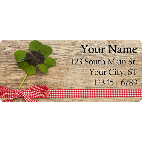 Shamrock Ribbon Personalized Return Address Labels Clover for St. Patrick's Day