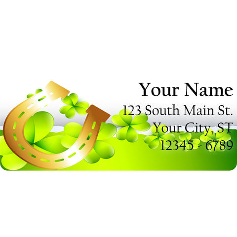 Shamrock and Horse Shoe Personalized Return Address Labels for St. Patrick's Day