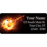 Flaming Soccer Ball Personalized Return Address Labels Flaming Soccer Football - The FinderThings