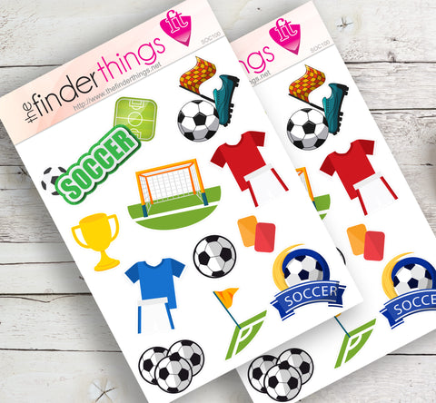Soccer Equipment Stickers for Scrapbook, Planners, and Fun - The FinderThings