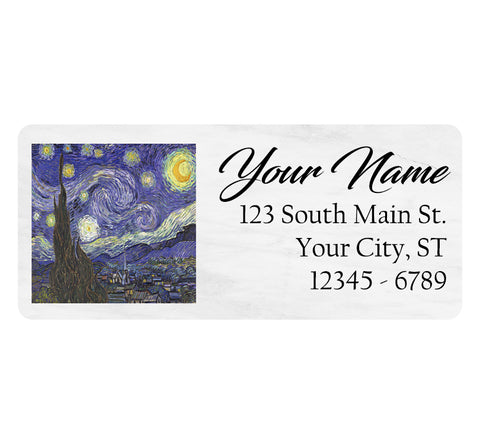 Van Gogh Starry Night Personalized Return Address Labels Artistic - The FinderThings