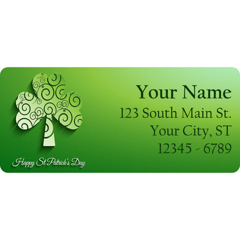 Tribal Shamrock Personalized Return Address Labels Clover for St. Patrick's Day