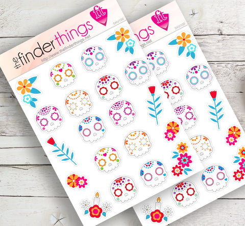 Day of the Dead Sugar Skulls Stickers for Scrapbook, Planners, and Fun - The FinderThings