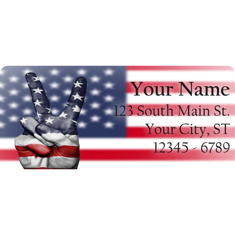 USA Flag Peace Sign Personalized Return Address Labels America US Flag