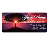 Tree Sunset Personalized Return Address Labels Nature Tree Sunset on the Ocean - The FinderThings