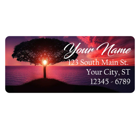 Tree Sunset Personalized Return Address Labels Nature Tree Sunset on the Ocean