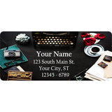 Typewriter and Rose Personalized Return Address Labels Office Desk - The FinderThings