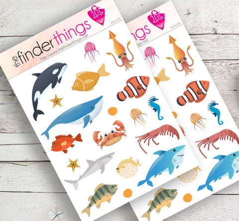 Under the Sea Animals Stickers for Scrapbook, Planners, Diary, Crafts and Fun - The FinderThings
