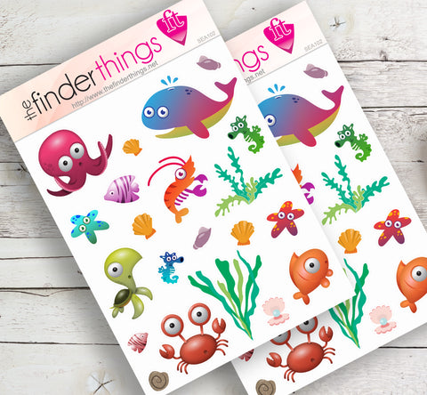 Under the Sea Cartoon Stickers for Scrapbook, Planners, Diary, Crafts and Fun - The FinderThings