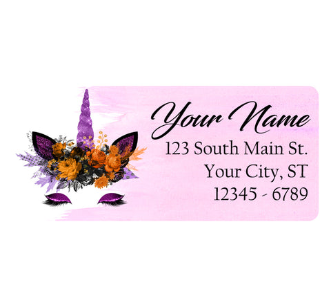 Unicorn Flowers Personalized Return Address Labels Purple Unicorns Fantasy