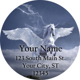 Pegasus White Horse Personalized Return Address Labels Flying Horse Myth - The FinderThings