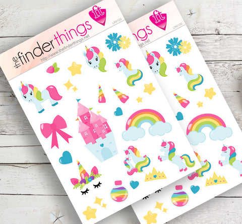 Unicorn and Rainbow Stickers for Scrapbook, Planners, and Fun