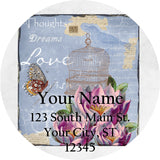Vintage Birdcage and Birds Personalized Return Address Labels Vintage Design - The FinderThings