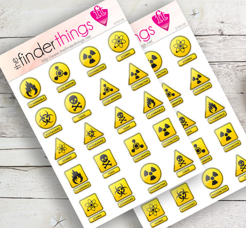 Warning Signs and Symbols Stickers for Scrapbook, Planners, Diary, Crafts and Fun