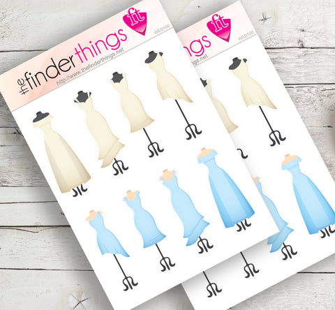 Bridesmaid Wedding Gown Stickers for Scrapbook, Planners, Diary, Crafts and Fun - The FinderThings
