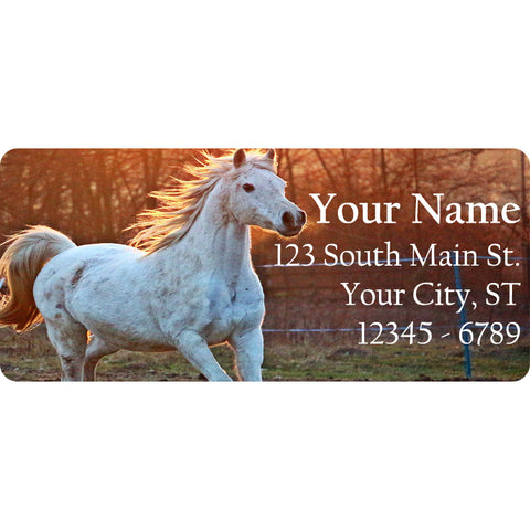 White Running Horse Personalized Return Address Labels Running in the Country