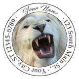 White Lion Personalized Return Address Labels Lion Roar White Mane - The FinderThings