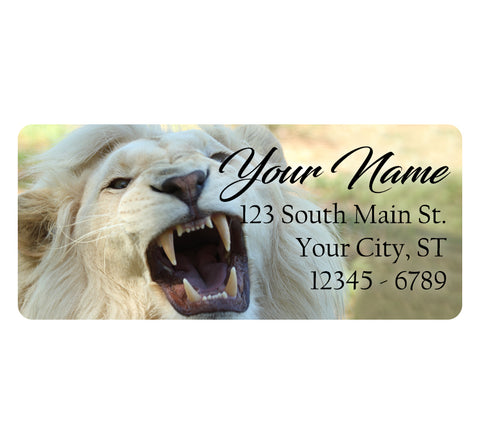 White Lion Personalized Return Address Labels Lion Roar White Mane